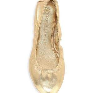 TORY BURCH Metallic Leather Ballet Flats In Gold